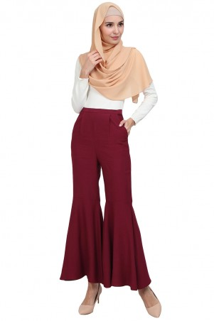 Dyson Flared Bell Bottom Pants - Deep Red
