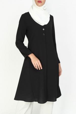 Malva Front Button Tunic - Black