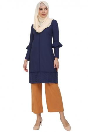 Issy Lace Panel Tunic - Dark Blue