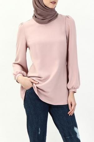 Madina Bubble Sleeve Blouse - Dusty Pink
