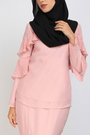 Cristal Fluted Ruffle Blouse - Dusty Pink