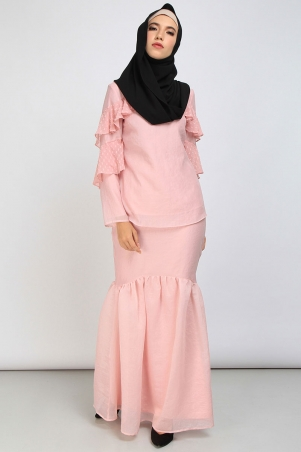 Myrna Gathered Hem Skirt - Dusty Pink