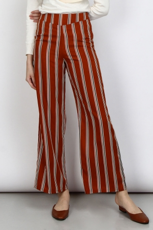 Waheda Wide Legged Pants - Brown Stripe