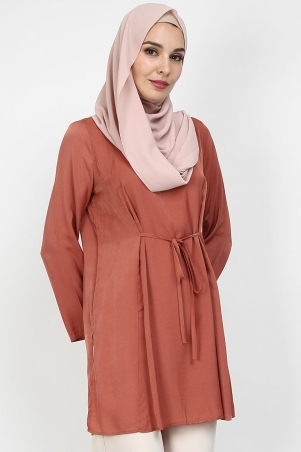 Perijane Tie String Tunic - Dusty Brick