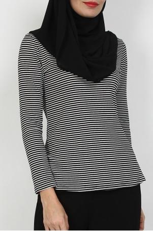 Umera Turtleneck Blouse - Black White Stripe