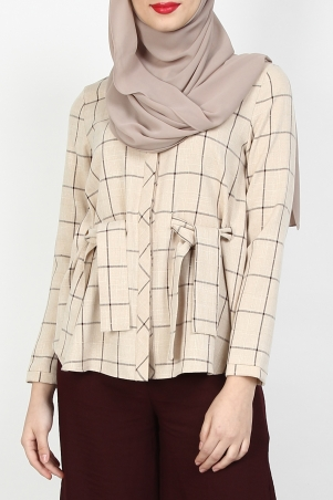 Lureet Front Button Shirt - Taupe Check