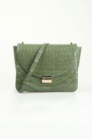 Danielle Croc-Stamped Shoulder Bag - Olive