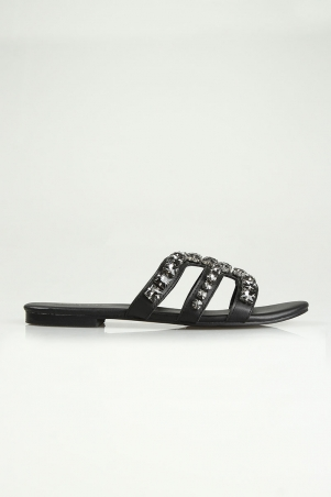 Shea Embellished Sandals - Black
