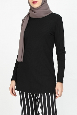 Raynell Knitted Rib Blouse - Black