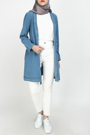 Decklynn Denim Trench Coat - Light Wash