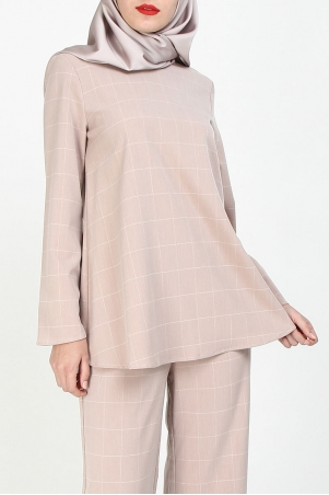 Manion Flare Blouse - Dusty Pink Check