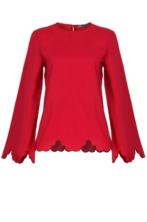 Jeanette Scallop Embroidered Hem Blouse