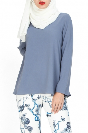Jenifer V-Neck Flare Blouse - Cloud Blue