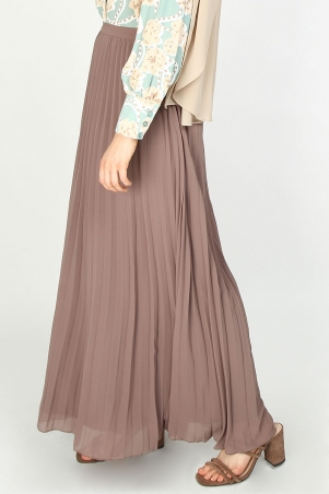 Claudette Pleated Maxi Skirt - Warm Taupe