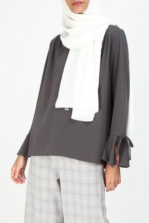 Micha Tie String Sleeve Blouse - Grey
