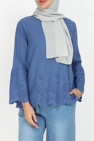 Elyse Bell Sleeve Lace Blouse - Lake Blue