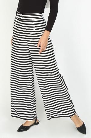 Nikayla Wide Legged Sailor Pants - Black/White Stripes