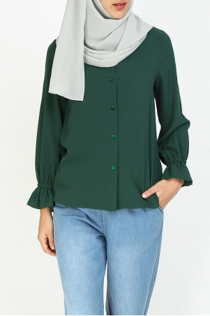 Jaina Front Button Blouse - Posy Green