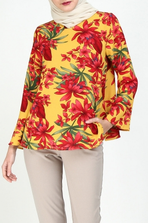 Cara Flared Blouse - Yellow/Red Flower