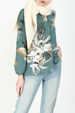 Dajana Front Button Blouse - Mint Floral