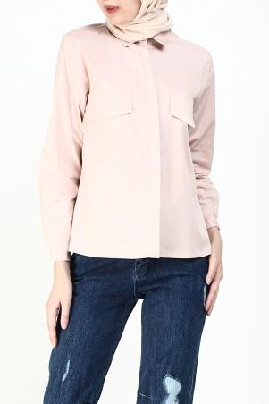 Kaydin Faux Pocket Shirt - Pink
