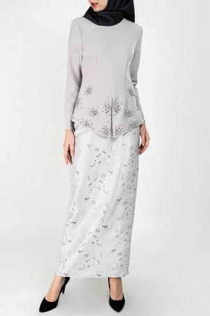 Zuriel Blouse & Skirt - Light Grey