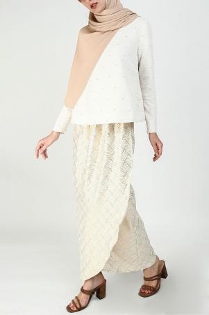 Ambika Blouse & Skirt - Cream/Beige/Gold