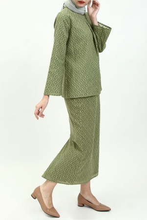 COTTON Esmay Blouse & Skirt - Kiwi Green