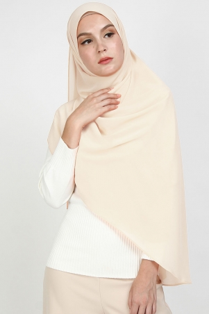 Aida XL Chiffon Tudung Headscarf - Cloud Cream
