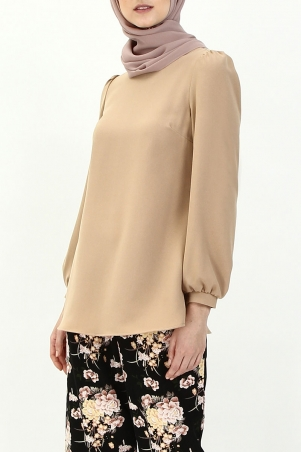 Madina Bubble Sleeve Blouse - Light Brown