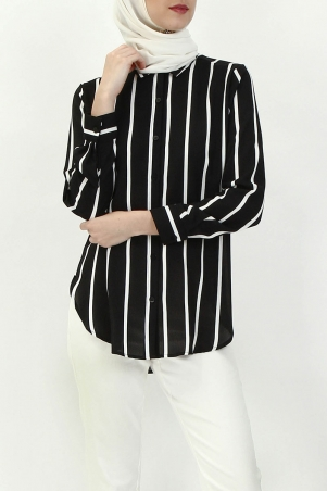 Valletta Front Button Shirt - Black White Stripes