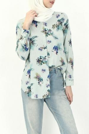 Valletta Front Button Shirt - Green Floral Stripes