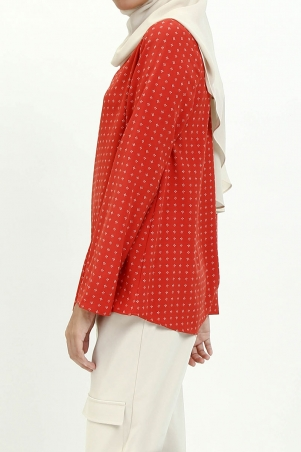Ivonne Flared High Neck Blouse - Brick Mini Flower
