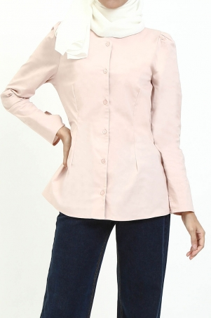 Alyvia Front Button Blouse - Dusty Pink