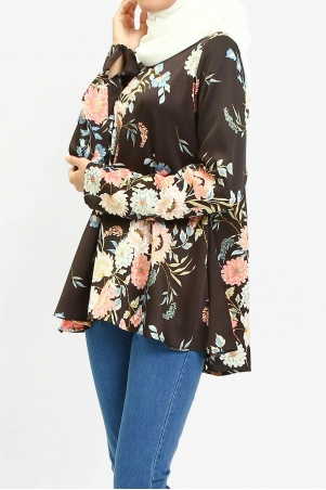 Jenifer V-Neck Flare Blouse - Black/Pink Floral