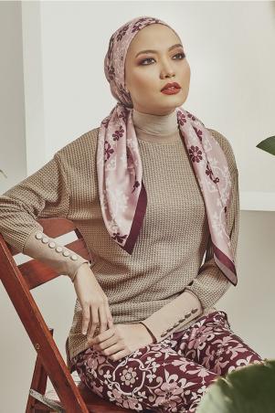 PGB Fez Square Satin Headscarf - Dusty Pink Print