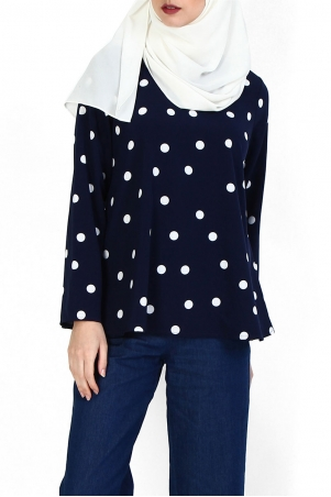 Jenifer V-Neck Flare Blouse - Navy Polka
