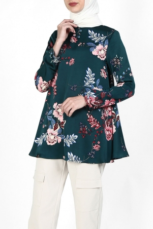 Merai Flared High Neck Blouse - Green Red Flora