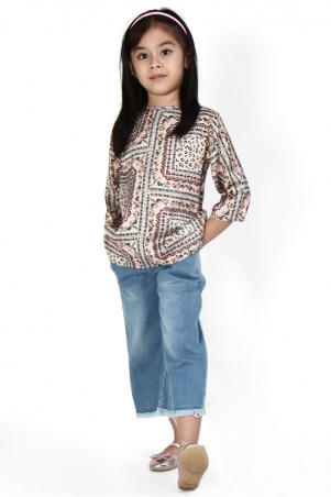KIDS Cara Flared Blouse - Beige Print