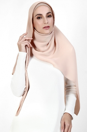 Kiara Triangle Pleated Headscarf - Bisque