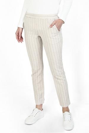 Zaelin The Pull-on Tapered Pants - Light Beige/Black Stripe