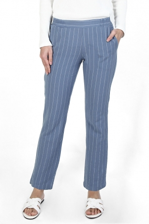 Zaelin The Pull-on Tapered Pants - Blue/White Stripe