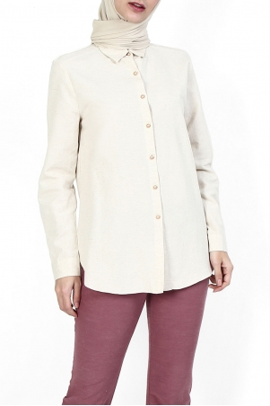 Tayma Front Button Shirt - Heather Beige