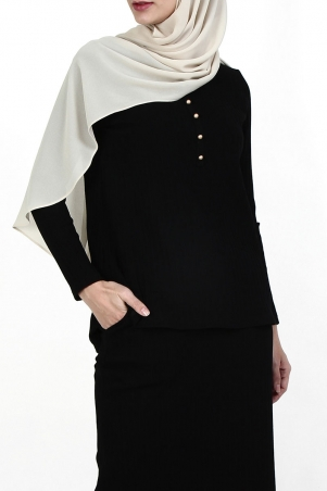 Avelina Ribbed Knit Blouse - Black