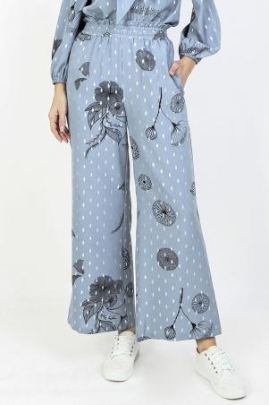 Ellora Wide Legged Pants - Blue Fog Print Dot