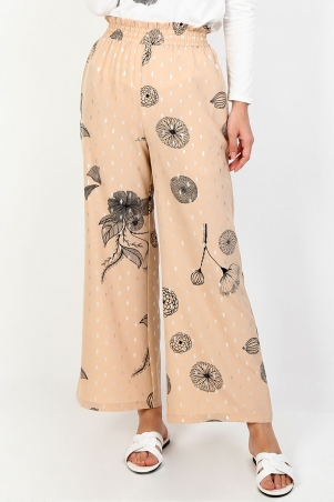 Ellora Wide Legged Pants - Beige Print Dot