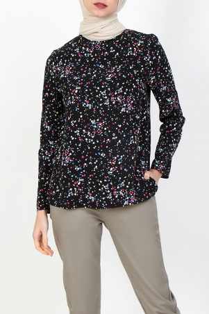 Ivonne Flared High Neck Blouse - Black Multi Dot