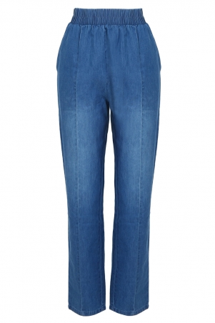 COTTON Romy Tapered Pants - Medium Wash
