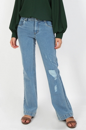 COTTON Shekinah Jeans 2.0 - Distressed Light Wash