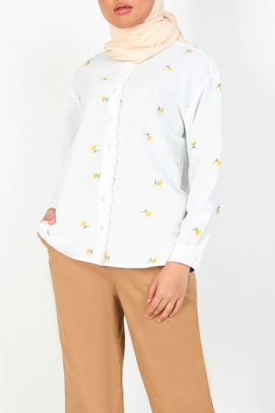 Getruda Embroidered Shirt - White/Yellow Daisy